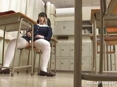 school girl is masturbating in the music room