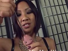 Asian Cbt handjob and sounds hole fucking