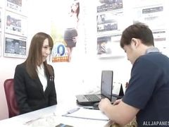 japanese beauty sucks cock at work