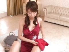 elegant japanese beauty gives a blowjob